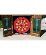 1994 Marlboro Wooden Case Dart Board Cricket Game Set Game Room Vintage - $89.99