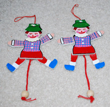 """Clowns or Christmas Elf Ornaments Decorations 6"""" Wood Elves Wooden Toys ... - $13.32"""