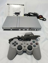 Sony PS2 PlayStation 2 Slim Silver With One Controller SCPH-79001 - $112.19