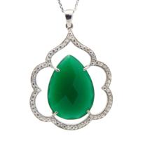 Big Emerald Pendent, Swarovski Pendent, Elegant Sterling Silver  Pendent   - $25.00
