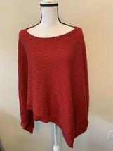 Women Ralph Lauren Red Cable Knit Poncho M/L Pima Cotton. - $29.95