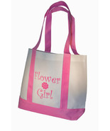 Flower Girl Tote Bag Gift White with Pink Straps Large Wedding Flower Gi... - $10.40