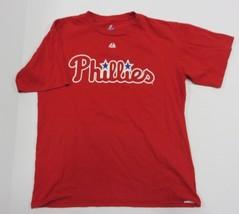 Majestic MLB Philadelphia Phillies Logo Red Graphic T-Shirt Size Medium - $22.72
