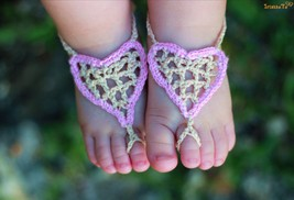 Leah Johnson Baby Barefoot Sandals/ Crochet baby sandals- -Baby heart sa... - $6.00