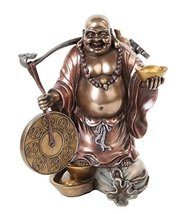 10.63 Inch Lucky Buddha with Good Fortune Resin Statue Figurine - $58.90