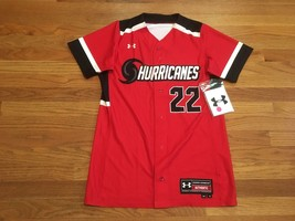 New Under Armour Women's Small Hurricanes Dynamite Softball Jersey Red - $27.71
