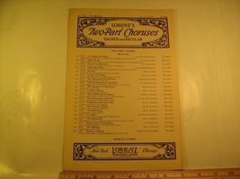 Vintage Sheet Music LORENZ'S TWO-PART CHORUSES 'Tis Spring [Y112a] - $6.32