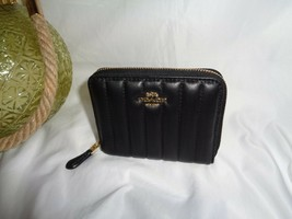 Coach 2886 Linear Quilted Small Zip Around Wallet Bifold Black Leather - $95.62