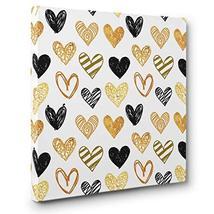 Black and Gold Teen Room Décor HEARTS CANVAS Wall Art - $28.22