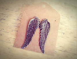Hypo-Allergenic Antique Silver Angel Wing Studs Wing Stud Earrings Feath... - $52.00