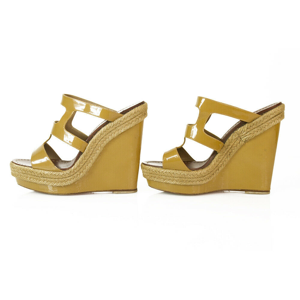 CHRISTIAN LOUBOUTIN Salamanca Espadrille beige Patent Leather Wedges Shoes sz 37 image 4