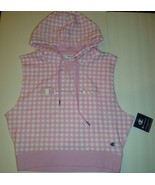 New Champion Women's Campus Sleeveless Hoodie Sweatshirt Pink Gingham Lo... - $35.63