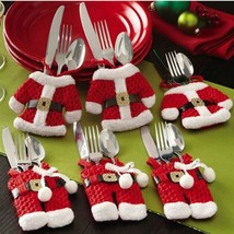 6pcs Set Christmas Santa Claus Silverware Holder Utensil Pocket Table De... - $9.99