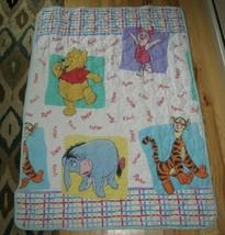 Winnie the Pooh Toddler Blanket Quilt Comforter Vintage 1996 Little Bedding - $69.29