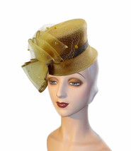 14K Golden Yellow Bucket Spectator Hat Faux Rhinestone Band Crystal Lade... - $51.00