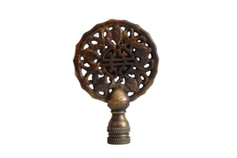Beautiful Vintage Style Hand Carved Brown Jade Double Happiness Lamp Fin... - $34.64