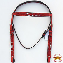 Western Horse Headstall Tack Bridle American Leather Mahogany Basket U-1-HS - $60.00