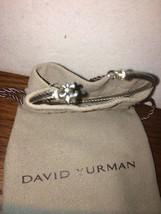 David Yurman Sterling Silver Diamond Fleur De Lis Cable Cuff Bracelet SMALL - $220.00