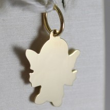 SOLID 18K YELLOW GOLD PENDANT FLAT GUARDIAN ANGEL ENGRAVABLE MADE IN ITALY image 2
