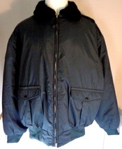 Men's I. Spiewak Bomber Jacket XL Tall Navy Blue Nylon Black Faux Fur Co... - $89.95