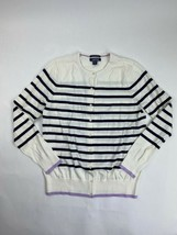 Lands End Supima Cotton Cardigan Sweater Women's XL Ivory Black Stripe - $24.75