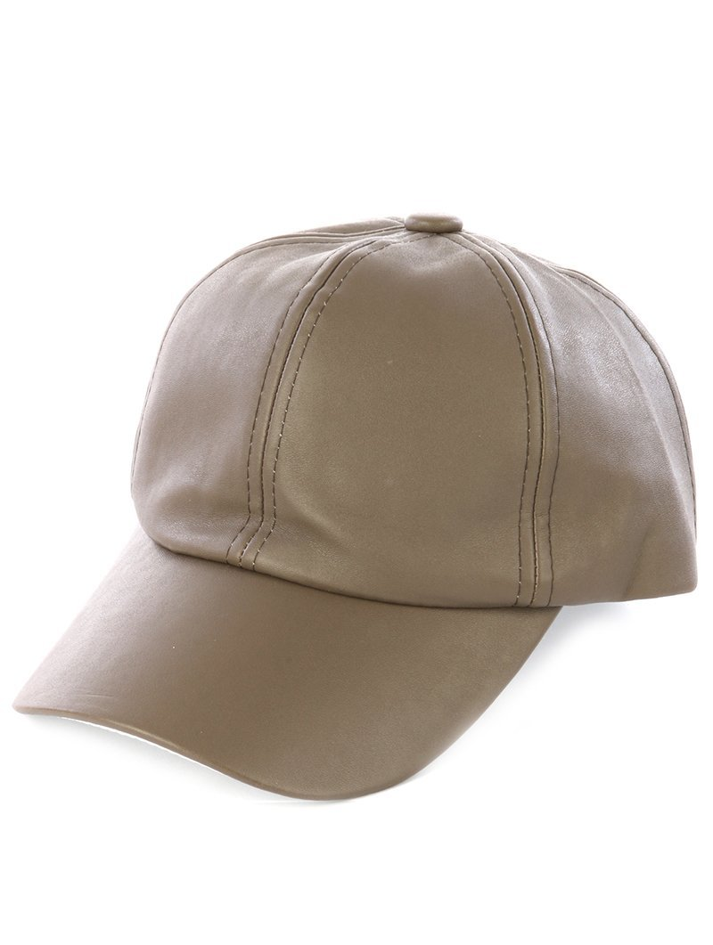 Solid Colored Baseball Cap Hat - Faux Leather (Olive)
