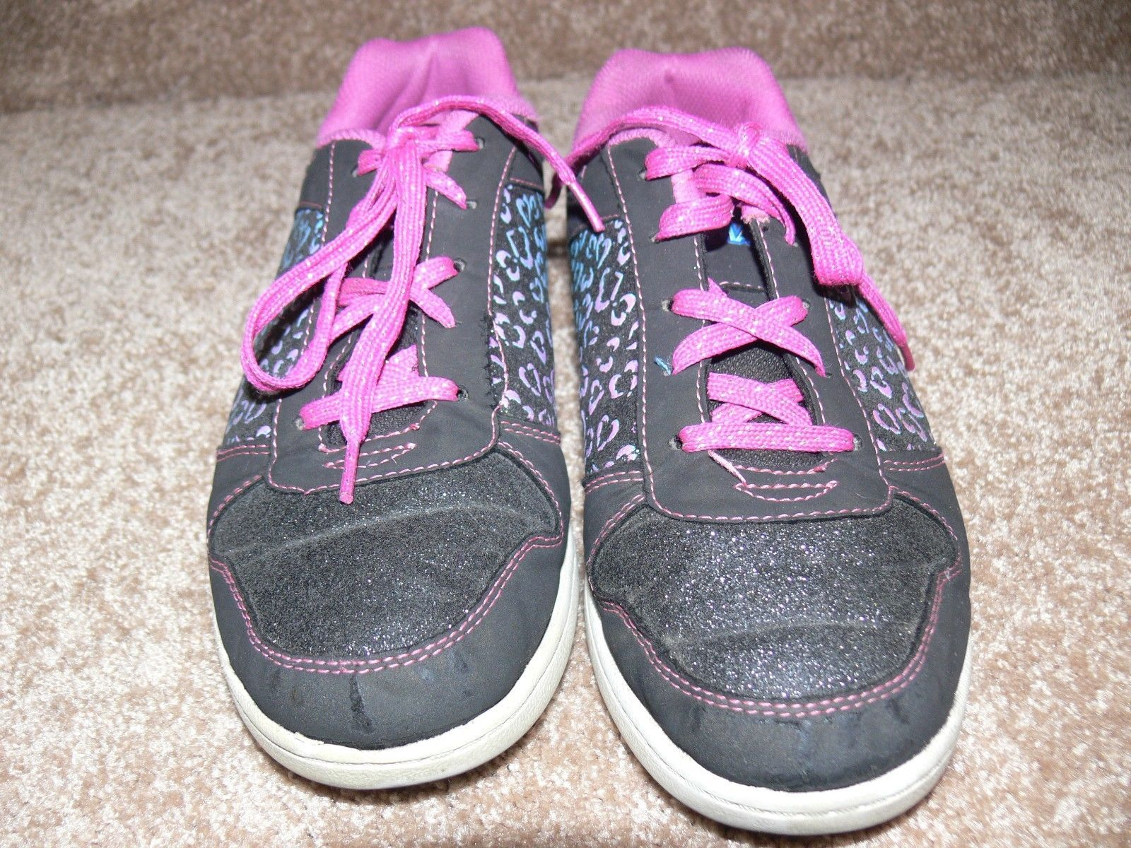 DISNEY LIV AND MADDIE Shoes Youth Sneakers Glitter Hearts Girls Size 5 cz image 2
