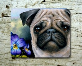 Mousepad Mouse Pad Computer Mat Dog 133 Pug Purple Flower art L.Dumas - $15.99