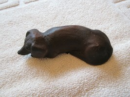 "DACHSHUND  , Sleeping , 5""X2""X11/2"" , Desk Top .  Vintage , Collectible  - $45.00"