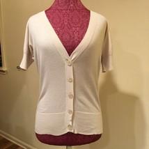Ann Taylor Loft Sweater Size small Beige V Neck Cardigan 100 Pima cotton - $26.99