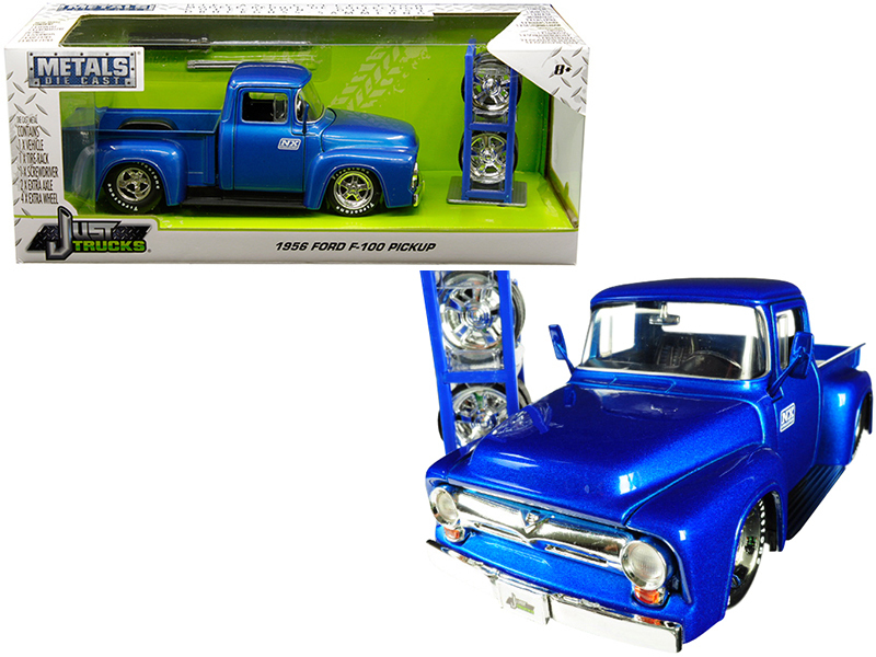 """1956 Ford F-100 Pickup Truck Blue \""""Nitrous Express\"""" (\""""NX\"""") with Extra Wheels"""