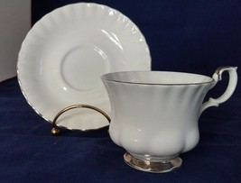 Royal Albert Chantilly Tea cup Teacup and Saucer Platinum Rim Montrose S... - $32.73