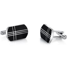 Black Tone Cross Motif Stainless Steel Cuff Links - $59.99