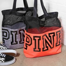 VICTORIA'S SECRET PINK Mesh Canvas Tote Gym Weekender Bag Black Red Grey... - $19.99