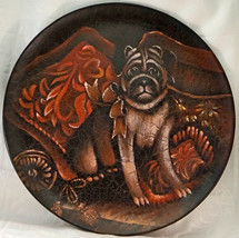 HUGE Painted Dog Plate / Plaque Pug with Ribbon Original Price $175 - $24.99