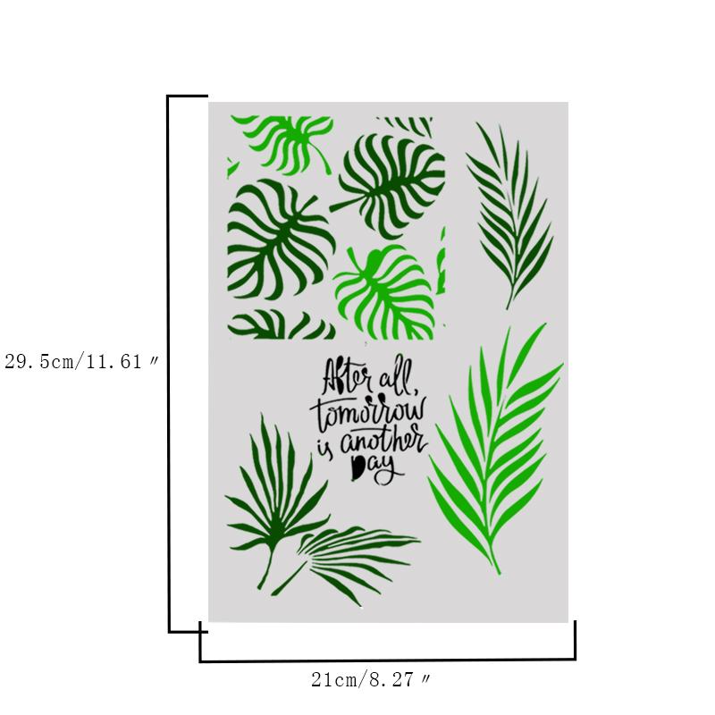Embossed Plastic Leaf Plants Cake Fondant Stencil Cake Brim Decoration DIY Coffe