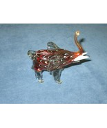 Vintage Small Hand Blown Amber Art Glass Elephant Figurine Trunk Up White Tusks - $20.39