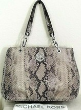 MICHAEL KORS FULTON CHAIN LARGE PEARL GREY SNAKESKIN LEATHER TOTE BAGNWT! - $259.99