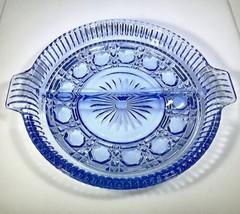 VNTG. Indiana Glass- Windsor/ Royal Brighton Blue Round Crystal Cut Reli... - $12.99