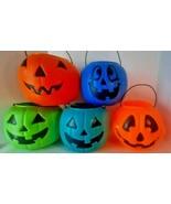 Halloween Blow Mold Pumpkin Pail Trick Or Treat Bucket (color choice) / v - $16.82