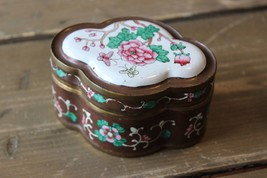 Antique Brass Enamel Flower Trinket Jar 3.75 x 2.75 x 2 inches - $89.09