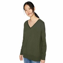 Daily Ritual Women's Terry Cotton and Modal V-Neck Drop-Shoulder Sweatshirt - $18.69