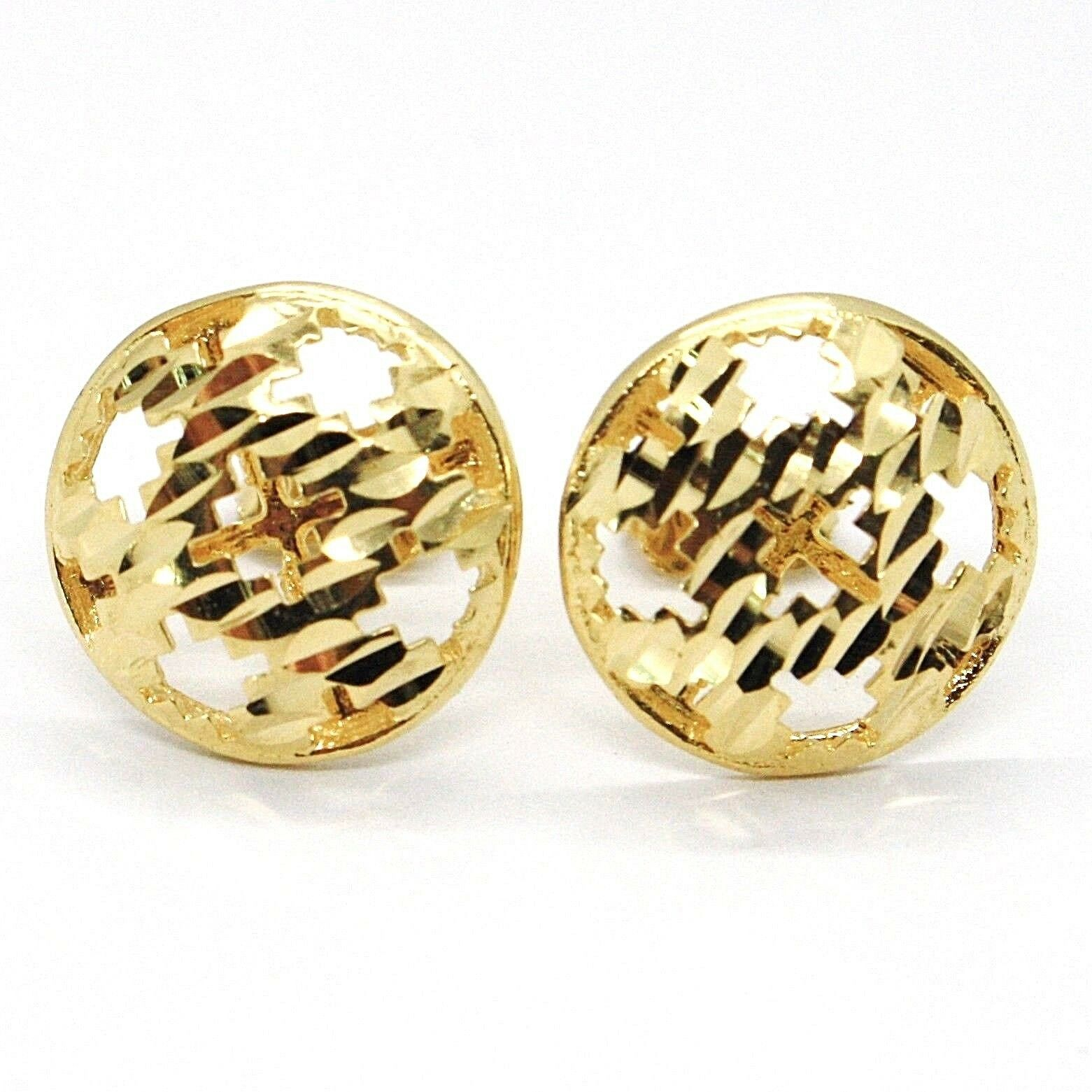 Yellow Gold Earrings 750 18K, Button, Disc, Finely Machined, Hammered
