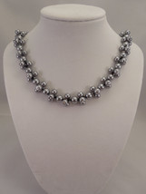 8mm Gray Glass Pearl Necklace with 6mm Gray Glass Pearls and Swarovski C... - $60.00