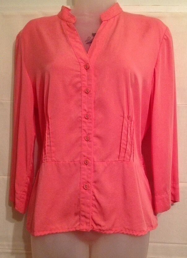 "JM Collection Women's Size 6 Blouse Orange Button Front V-Neck 3/4"" Sleeves"