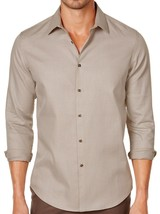 New Mens Tasso Elba Dobby Taupe Button Front Shirt L 16-16.5 - $18.80