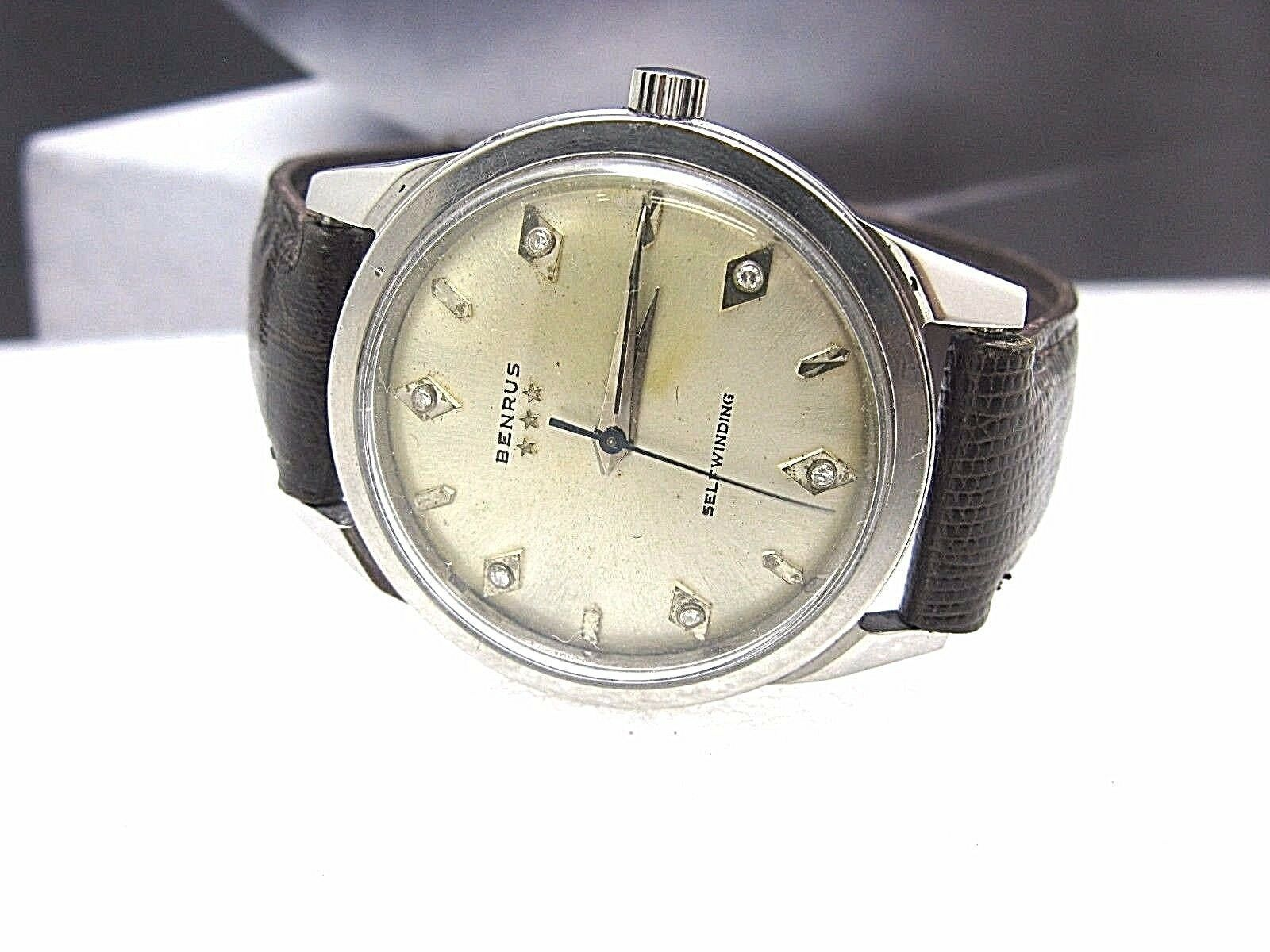 BENRUS Vintage tri Star self winding watch Switzerland Diamond Complete serviced