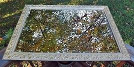Vintage Gold Leaf & Gesso Wall Mirror Large w/ Raised Flowers & Leaves  - $175.00