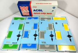 Vintage Duplicate Bridge Boards ACBL 5-8 with Cards Lot of 4 Blue - $19.75