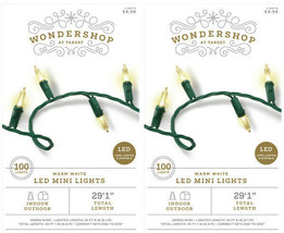 "Lot of 2 100ct Christmas LED Mini String Lights Warm White In/Outdoor 29'.1"" NEW"
